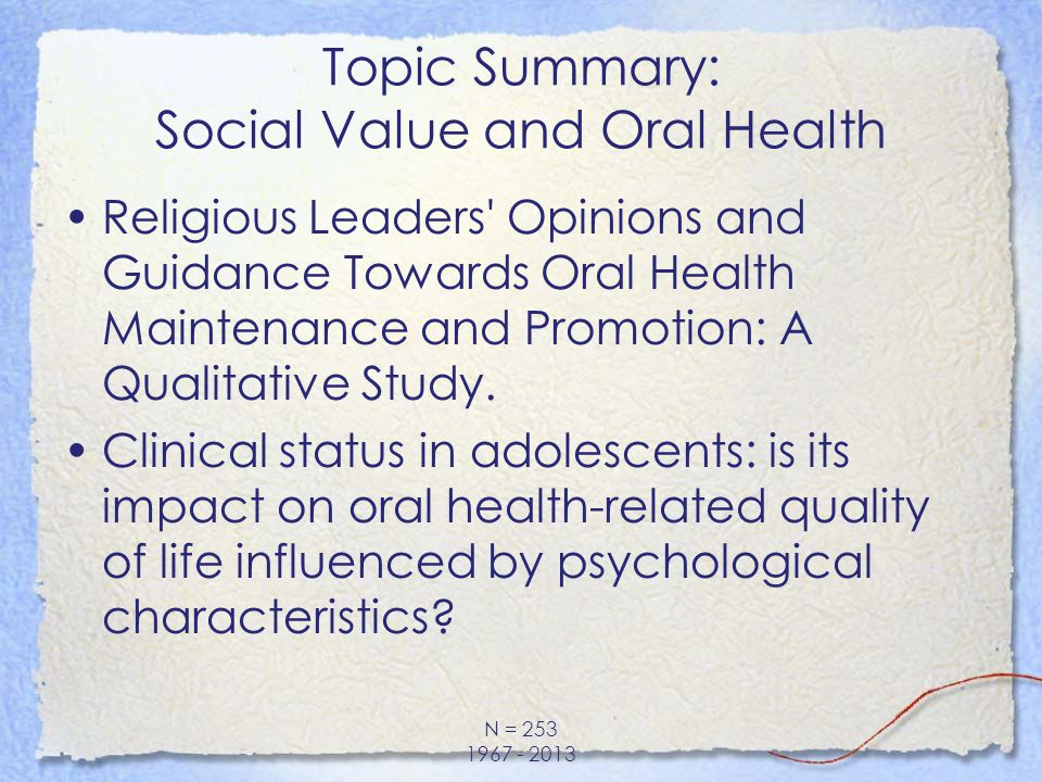Topic Summary: Social Value and Oral Health Religious Leaders' Opinions and Guidance Towards Oral Health Maintenance and Promotion: A Qualitative Stud