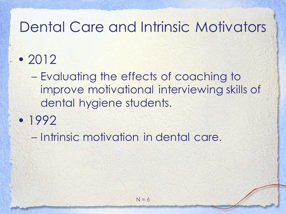Dental Care and Intrinsic Motivators 2012 –Evaluating the effects of coaching to improve motivational interviewing skills of dental hygiene students.