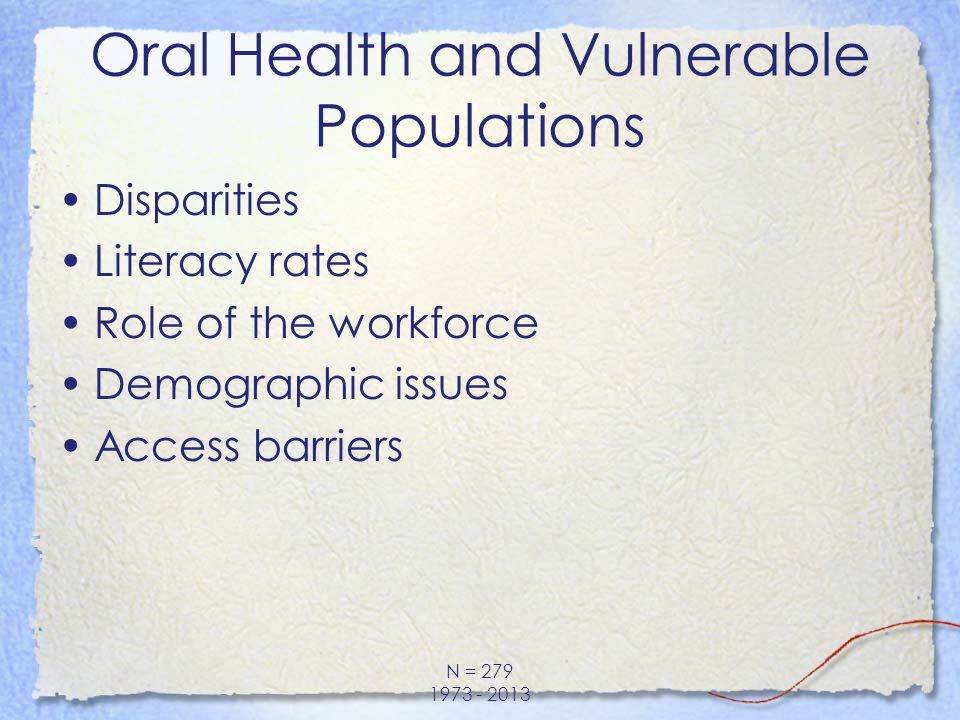 Disparities Literacy rates Role of the workforce Demographic issues Access barriers N = 279 1973 - 2013