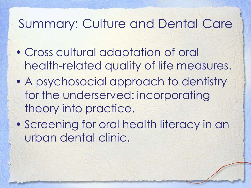 Oral Health and Vulnerable Populations