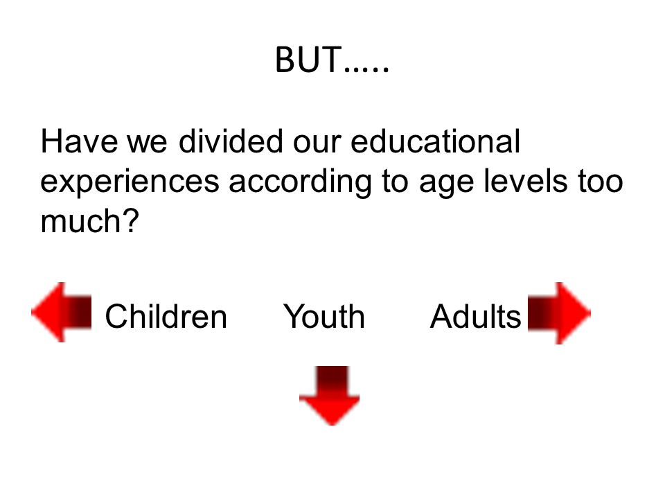 BUT….. Have we divided our educational experiences according to age levels too much.
