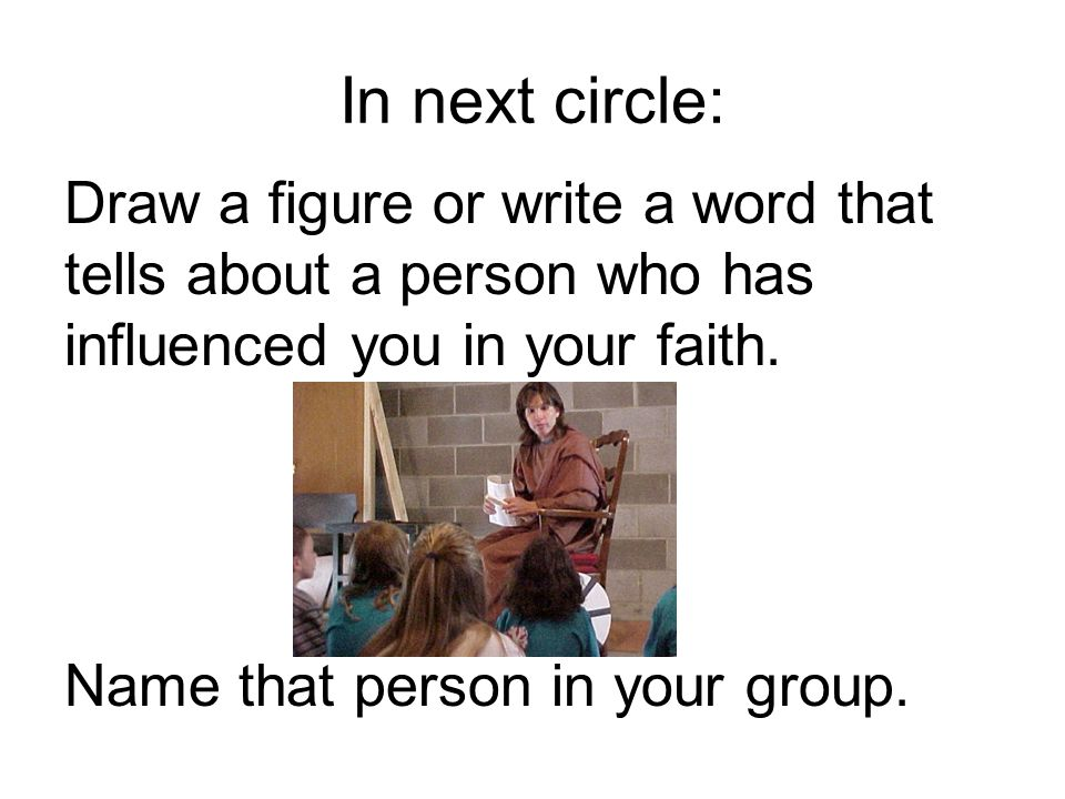 In next circle: Draw a figure or write a word that tells about a person who has influenced you in your faith.