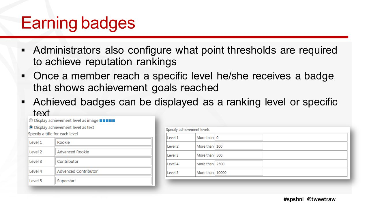 Earning badges  Administrators also configure what point thresholds are required to achieve reputation rankings  Once a member reach a specific level he/she receives a badge that shows achievement goals reached  Achieved badges can be displayed as a ranking level or specific text