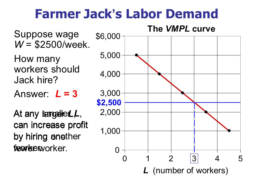 At any larger L, can increase profit by hiring one fewer worker.