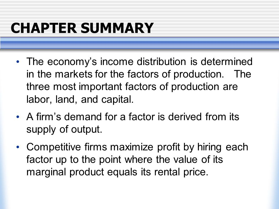 CHAPTER SUMMARY The economy's income distribution is determined in the markets for the factors of production.