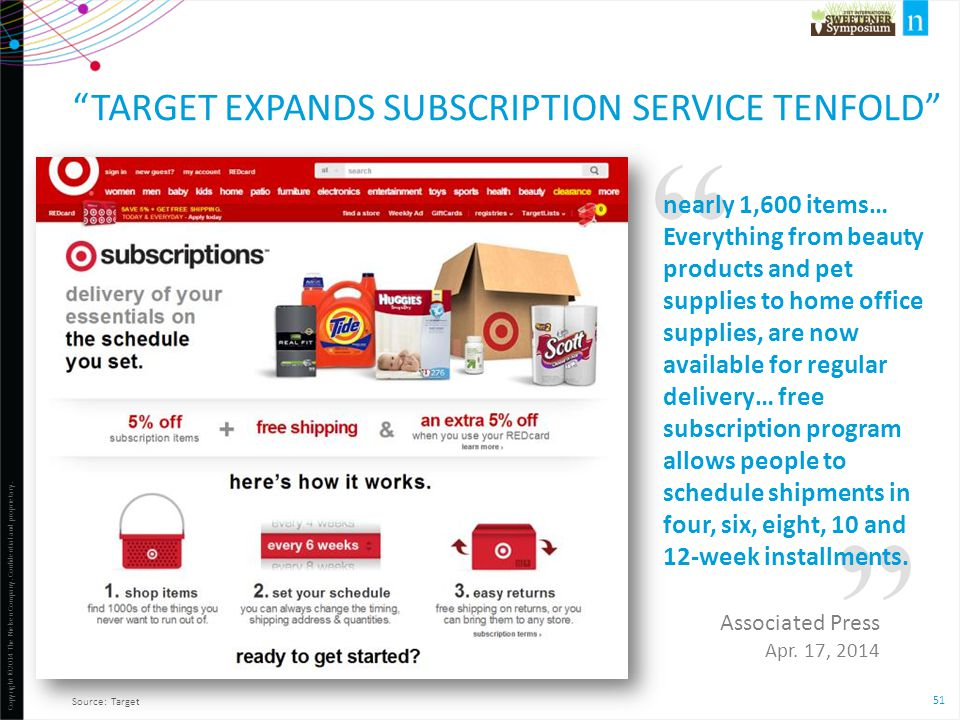 "51 Copyright ©2014 The Nielsen Company. Confidential and proprietary. ""TARGET EXPANDS SUBSCRIPTION SERVICE TENFOLD"" Source: Target nearly 1,600 items…"