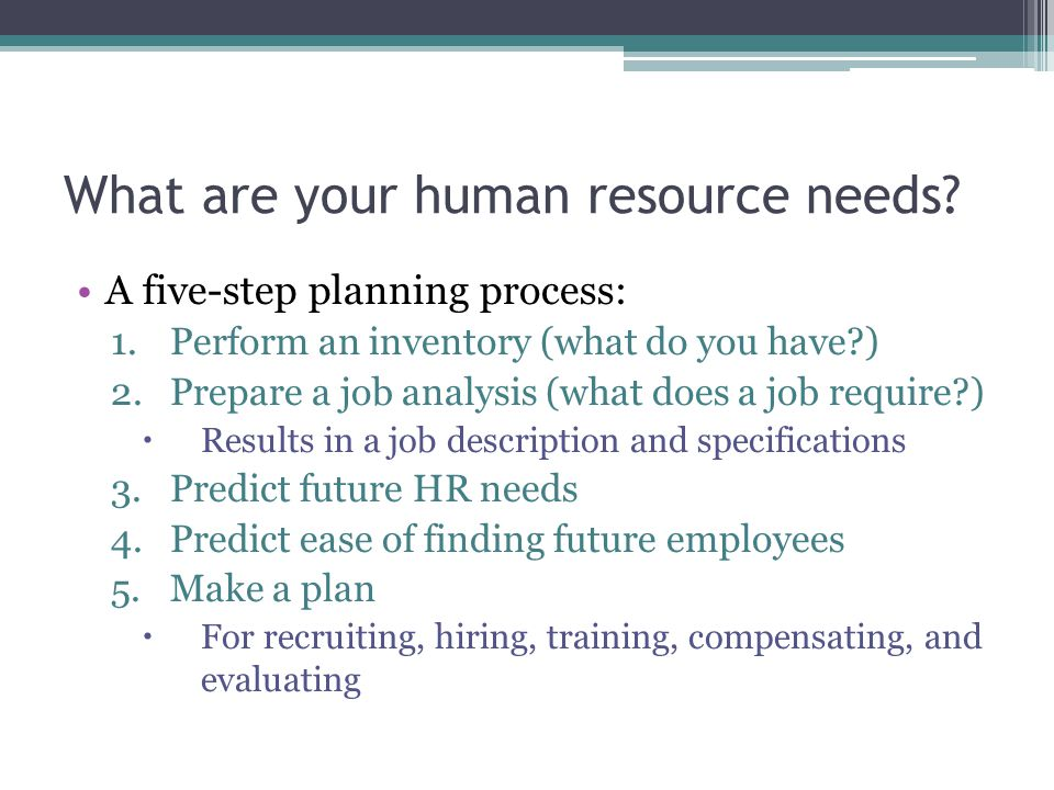 What are your human resource needs.