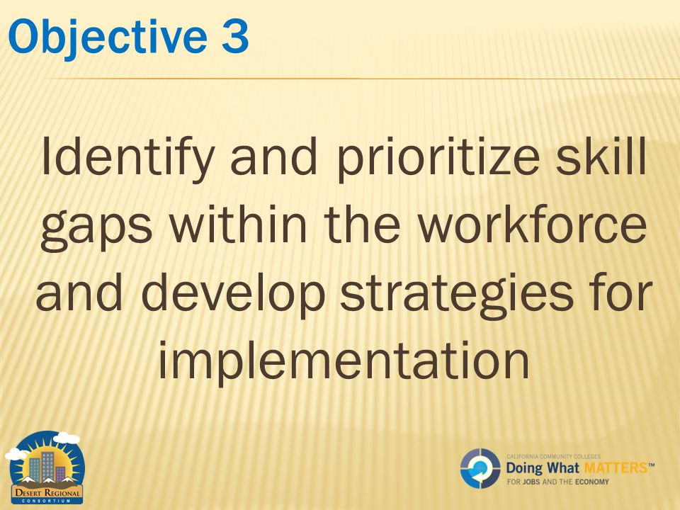 Objective 3 Identify and prioritize skill gaps within the workforce and develop strategies for implementation