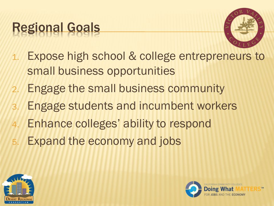1. Expose high school & college entrepreneurs to small business opportunities 2.
