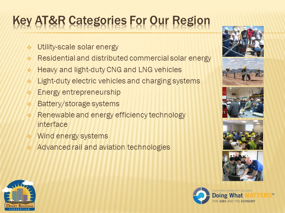  Utility-scale solar energy  Residential and distributed commercial solar energy  Heavy and light-duty CNG and LNG vehicles  Light-duty electric vehicles and charging systems  Energy entrepreneurship  Battery/storage systems  Renewable and energy efficiency technology interface  Wind energy systems  Advanced rail and aviation technologies