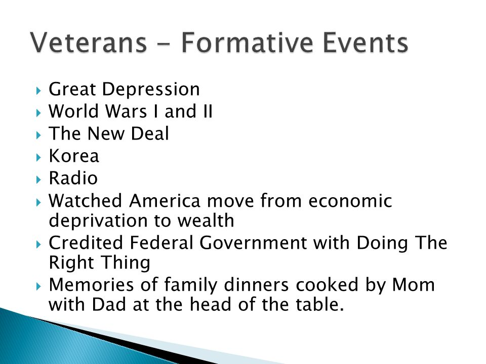  Great Depression  World Wars I and II  The New Deal  Korea  Radio  Watched America move from economic deprivation to wealth  Credited Federal Government with Doing The Right Thing  Memories of family dinners cooked by Mom with Dad at the head of the table.