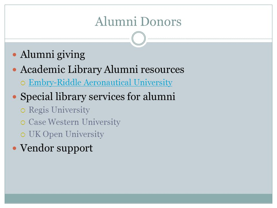 Alumni Donors Alumni giving Academic Library Alumni resources  Embry-Riddle Aeronautical University Embry-Riddle Aeronautical University Special library services for alumni  Regis University  Case Western University  UK Open University Vendor support