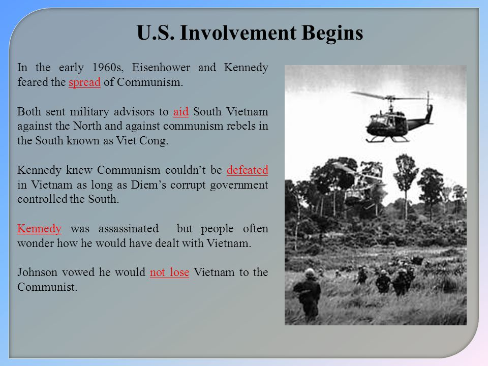 U.S.Involvement Begins In the early 1960s, Eisenhower and Kennedy feared the spread of Communism.