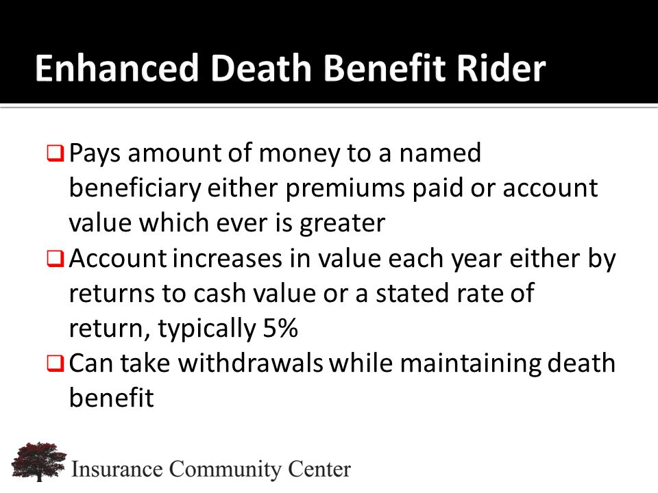 www.InsuranceCommunityUniversity.com  Pays amount of money to a named beneficiary either premiums paid or account value which ever is greater  Account increases in value each year either by returns to cash value or a stated rate of return, typically 5%  Can take withdrawals while maintaining death benefit
