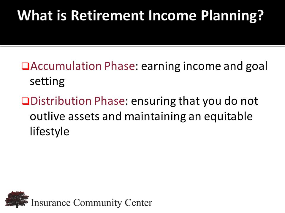 www.InsuranceCommunityUniversity.com  Accumulation Phase: earning income and goal setting  Distribution Phase: ensuring that you do not outlive assets and maintaining an equitable lifestyle