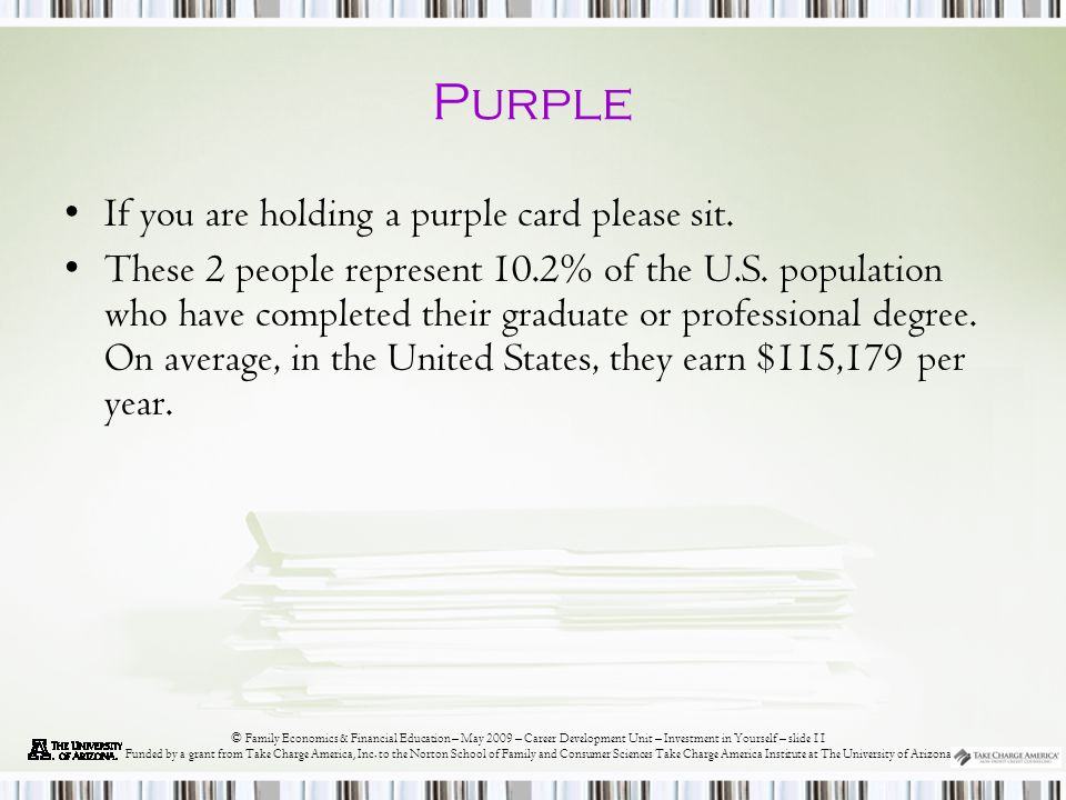 © Family Economics & Financial Education – May 2009 – Career Development Unit – Investment in Yourself – slide 11 Funded by a grant from Take Charge America, Inc.