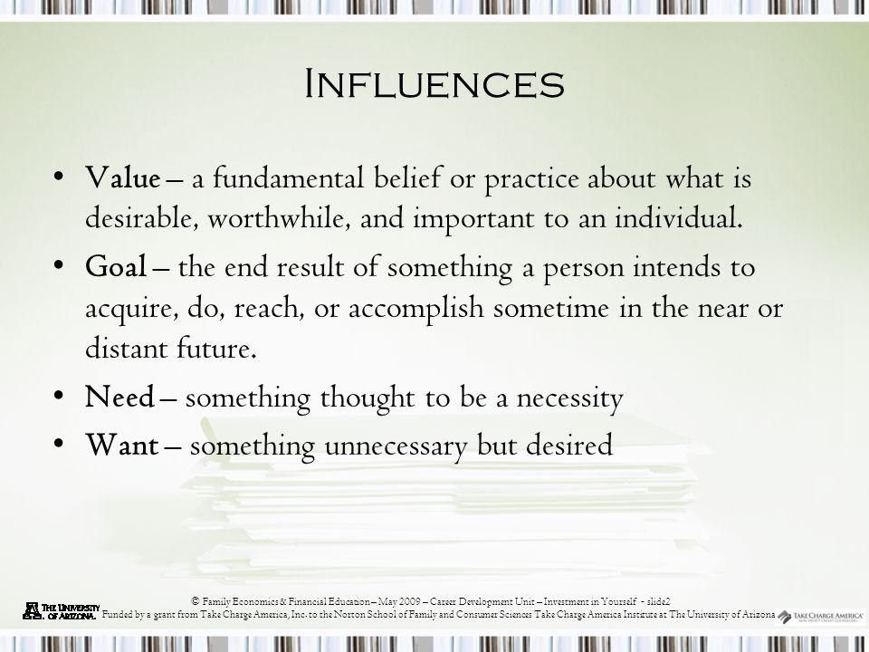 © Family Economics & Financial Education – May 2009 – Career Development Unit – Investment in Yourself - slide13 Funded by a grant from Take Charge America, Inc.