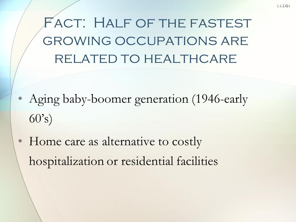 1.1.2.G1 Aging baby-boomer generation (1946-early 60's) Home care as alternative to costly hospitalization or residential facilities Fact: Half of the fastest growing occupations are related to healthcare