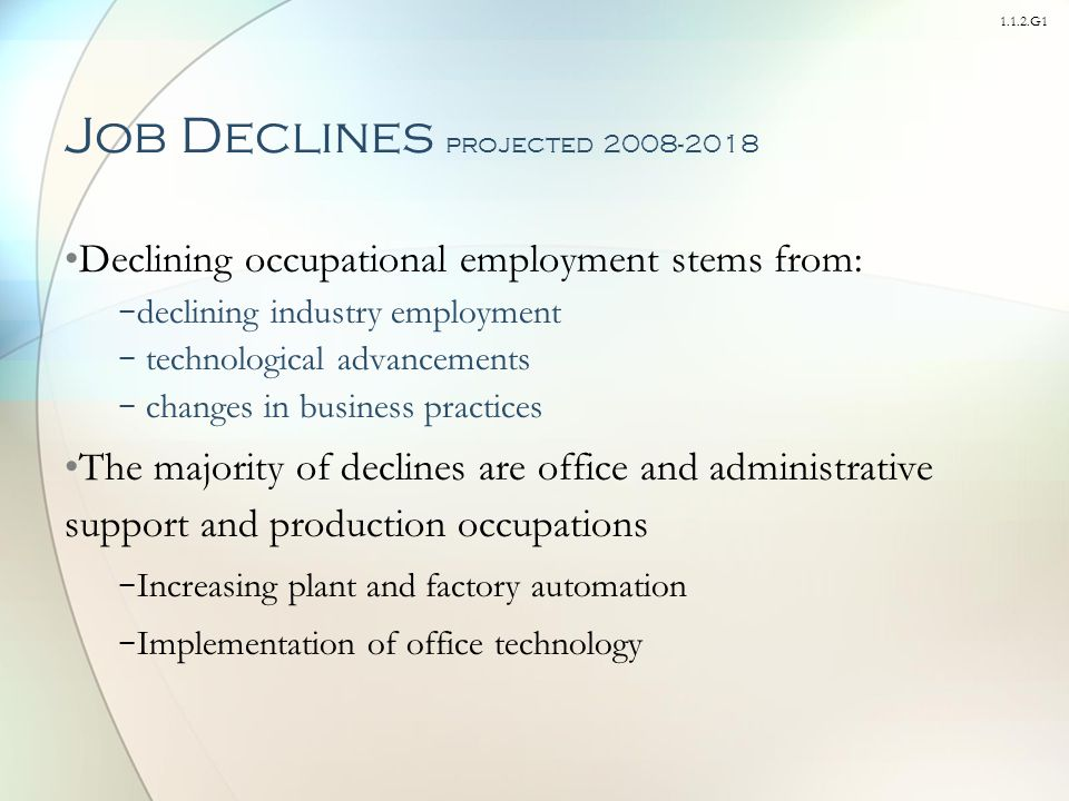 1.1.2.G1 Job Declines projected 2008-2018 Declining occupational employment stems from: − declining industry employment − technological advancements − changes in business practices The majority of declines are office and administrative support and production occupations − Increasing plant and factory automation − Implementation of office technology