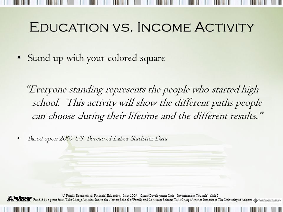 © Family Economics & Financial Education – May 2009 – Career Development Unit – Investment in Yourself – slide 6 Funded by a grant from Take Charge America, Inc.