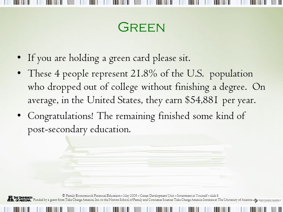 © Family Economics & Financial Education – May 2009 – Career Development Unit – Investment in Yourself – slide 8 Funded by a grant from Take Charge America, Inc.