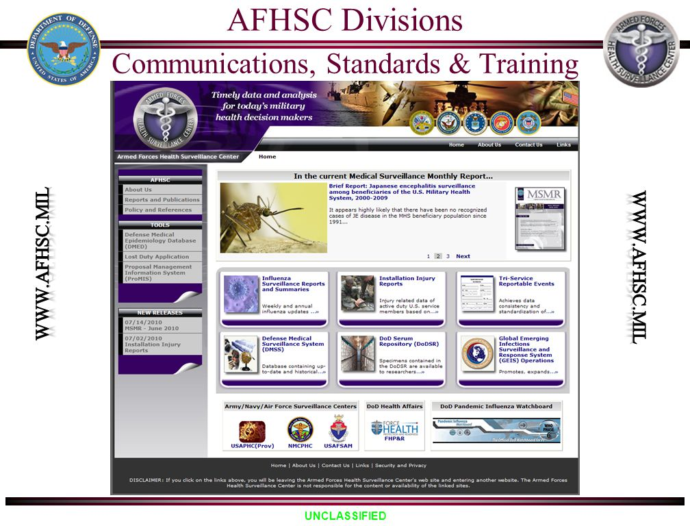 UNCLASSIFIED AFHSC Divisions Communications, Standards & Training