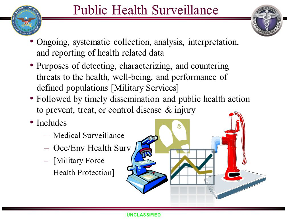 UNCLASSIFIED Ongoing, systematic collection, analysis, interpretation, and reporting of health related data Purposes of detecting, characterizing, and