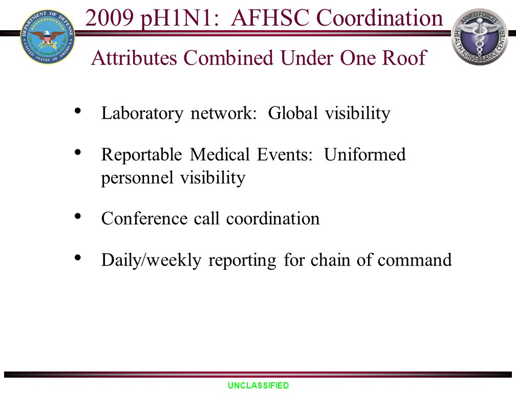 UNCLASSIFIED Laboratory network: Global visibility Reportable Medical Events: Uniformed personnel visibility Conference call coordination Daily/weekly