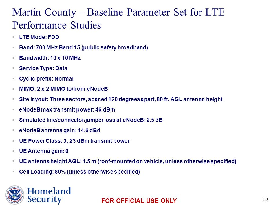 Presenter's Name June 17, 2003 FOR OFFICIAL USE ONLY Martin County – Baseline Parameter Set for LTE Performance Studies 82  LTE Mode: FDD  Band: 700 MHz Band 15 (public safety broadband)  Bandwidth: 10 x 10 MHz  Service Type: Data  Cyclic prefix: Normal  MIMO: 2 x 2 MIMO to/from eNodeB  Site layout: Three sectors, spaced 120 degrees apart, 80 ft.