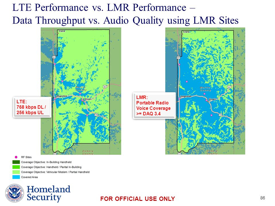 Presenter's Name June 17, 2003 FOR OFFICIAL USE ONLY LTE Performance vs. LMR Performance – Data Throughput vs. Audio Quality using LMR Sites 86 LTE: 7