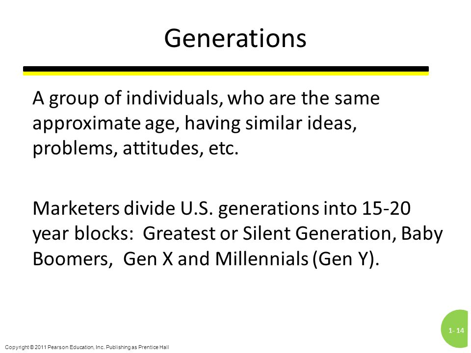 1-14 Copyright © 2011 Pearson Education, Inc. Publishing as Prentice Hall Generations A group of individuals, who are the same approximate age, having