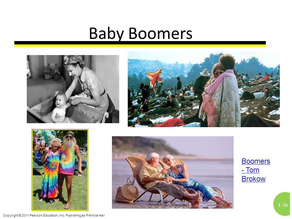 1-16 Copyright © 2011 Pearson Education, Inc. Publishing as Prentice Hall Baby Boomers Boomers - Tom Brokow