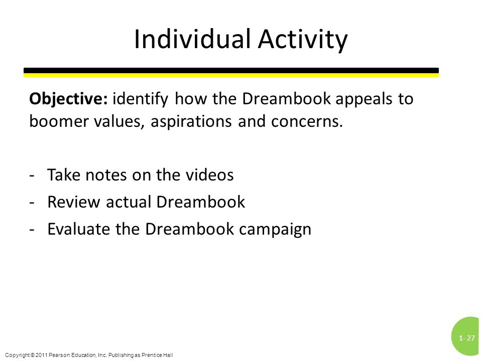 1-27 Copyright © 2011 Pearson Education, Inc. Publishing as Prentice Hall Individual Activity Objective: identify how the Dreambook appeals to boomer