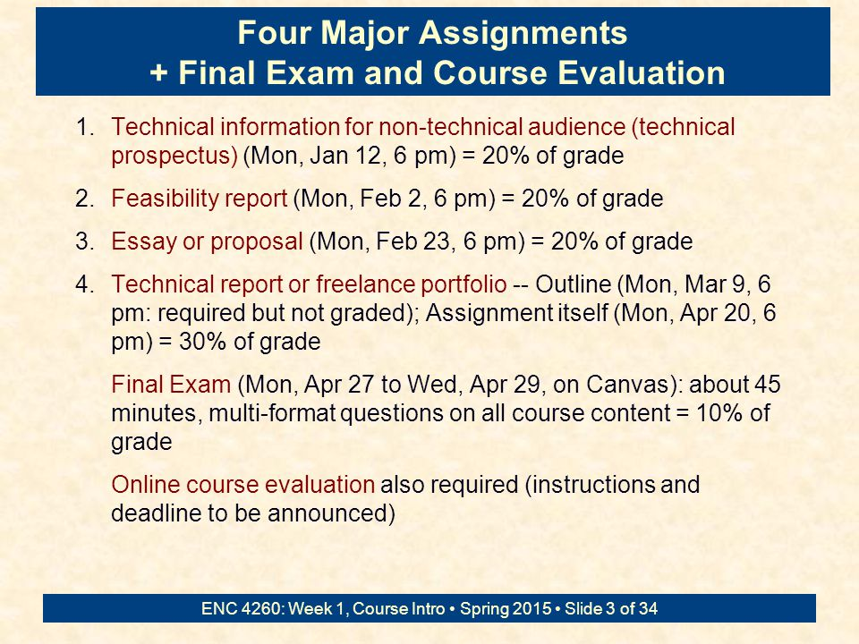 ENC 4260: Week 1, Course Intro Spring 2015 Slide 2 of 34 Text: Online Technical Writing http://www.prismnet.com/~hcexres/textbook/