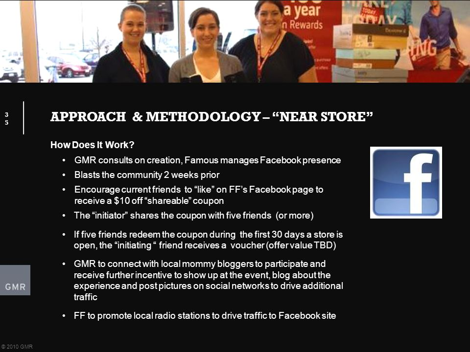 APPROACH & METHODOLOGY – NEAR STORE 35 © 2010 GMR How Does It Work.