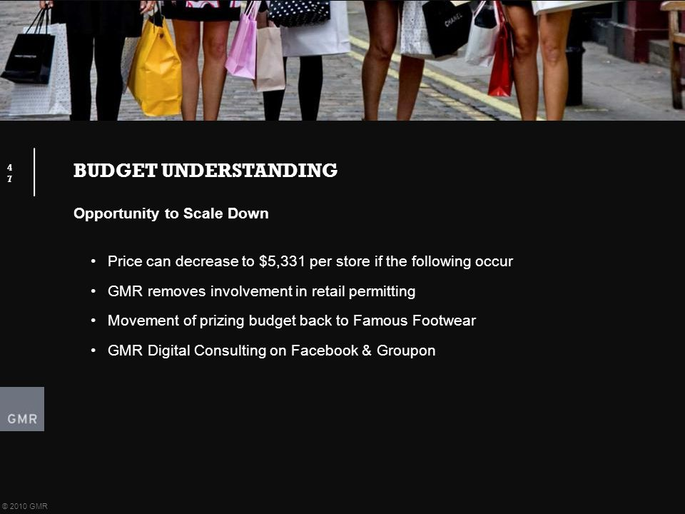BUDGET UNDERSTANDING 47 © 2010 GMR Opportunity to Scale Down Price can decrease to $5,331 per store if the following occur GMR removes involvement in