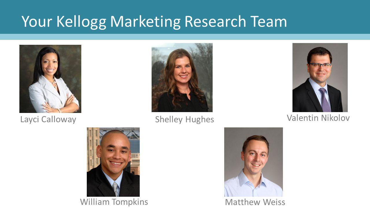 Your Kellogg Marketing Research Team William Tompkins Layci Calloway Shelley Hughes Valentin Nikolov Matthew Weiss