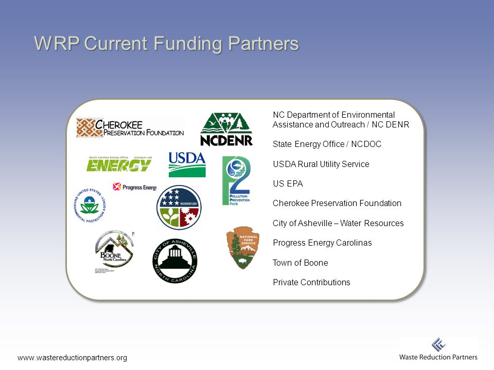 www.wastereductionpartners.org WRP Current Funding Partners NC Department of Environmental Assistance and Outreach / NC DENR State Energy Office / NCDOC USDA Rural Utility Service US EPA Cherokee Preservation Foundation City of Asheville – Water Resources Progress Energy Carolinas Town of Boone Private Contributions