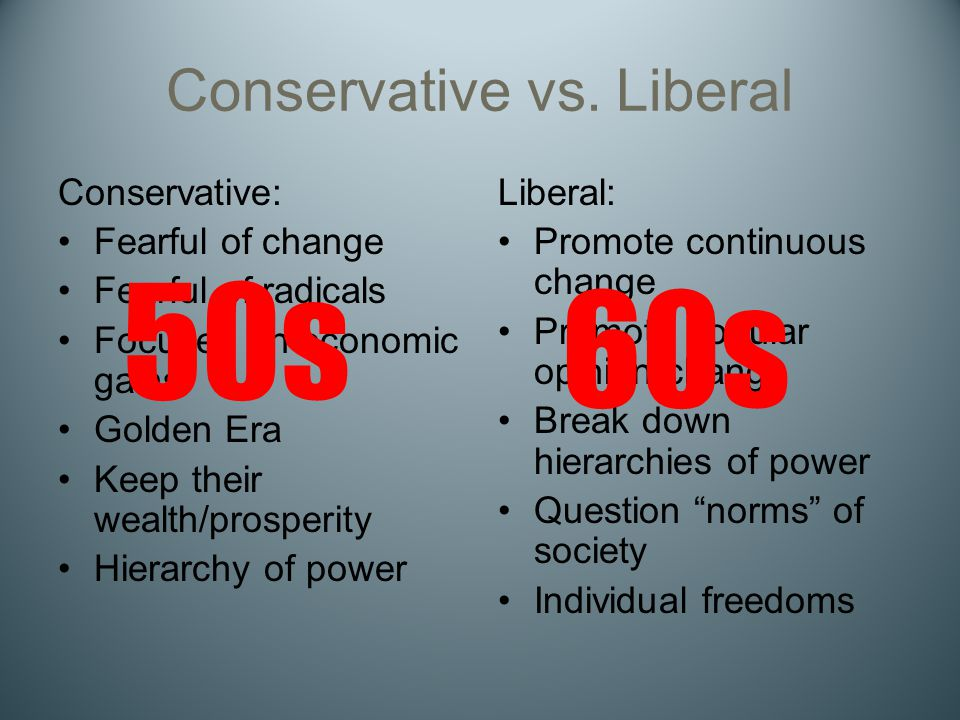 Conservative vs. Liberal Conservative: Fearful of change Fearful of radicals Focused on economic gains Golden Era Keep their wealth/prosperity Hierarc