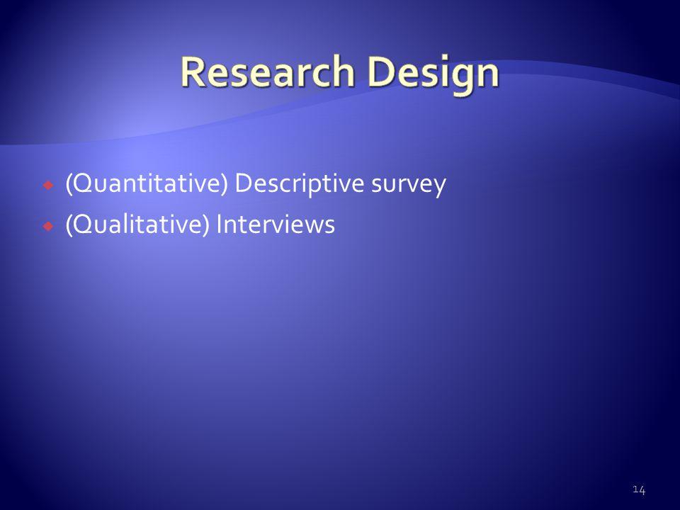  (Quantitative) Descriptive survey  (Qualitative) Interviews 14