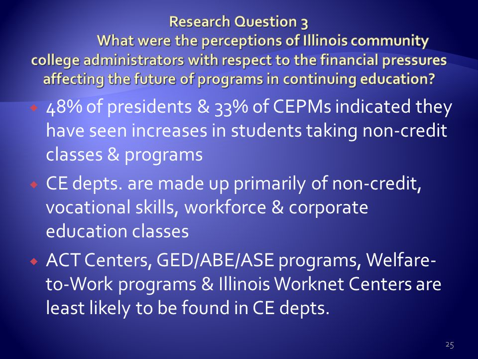  48% of presidents & 33% of CEPMs indicated they have seen increases in students taking non-credit classes & programs  CE depts. are made up primari