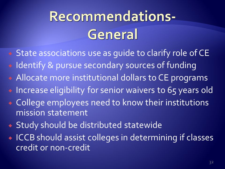  State associations use as guide to clarify role of CE  Identify & pursue secondary sources of funding  Allocate more institutional dollars to CE p