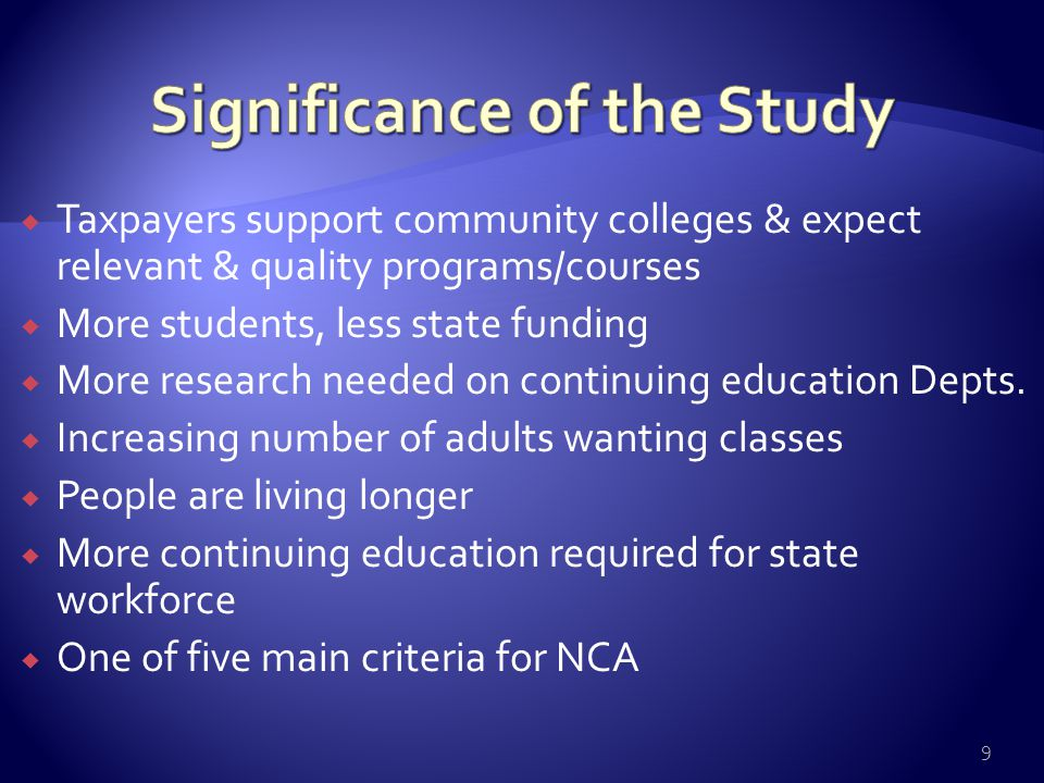  Taxpayers support community colleges & expect relevant & quality programs/courses  More students, less state funding  More research needed on cont