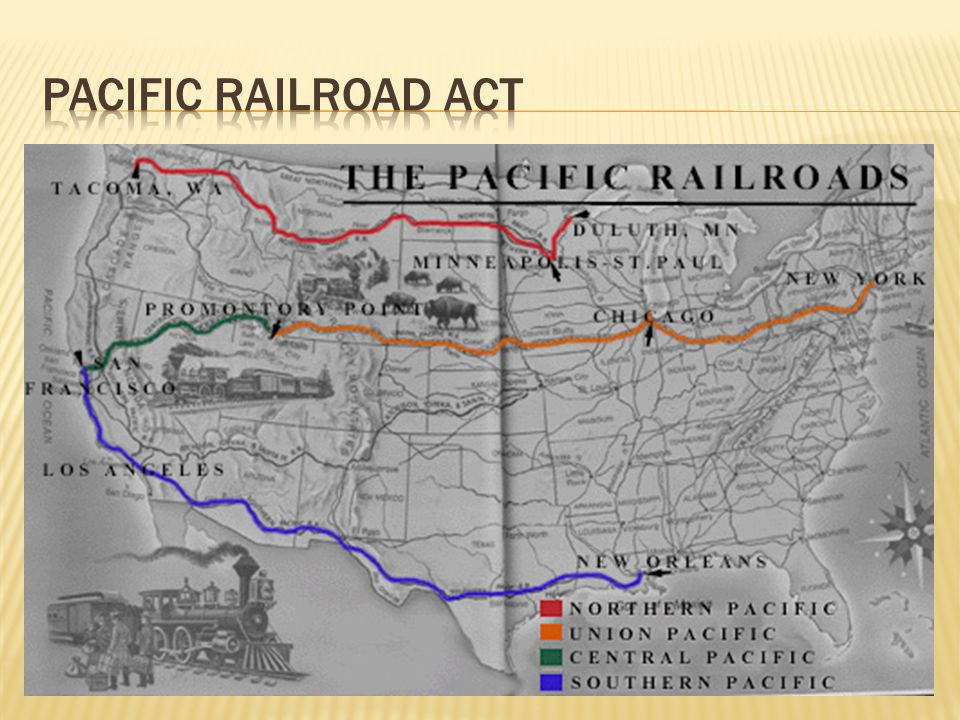  The Transcontinental Railroad was set up to connect the whole country and was split into two teams that would meet in the middle.