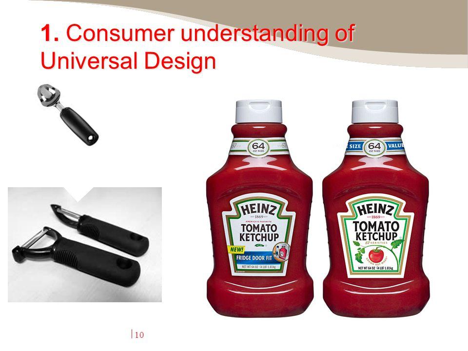 10 1. Consumer understanding of Universal Design