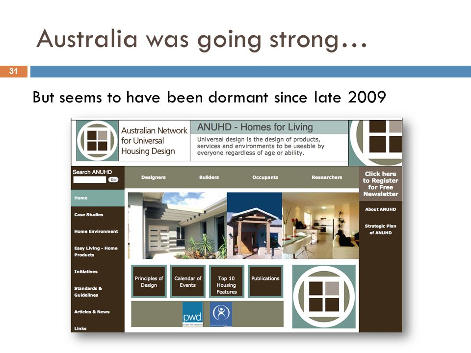 Australia was going strong… 31 But seems to have been dormant since late 2009