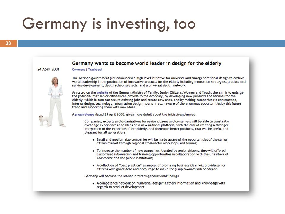 Germany is investing, too 33