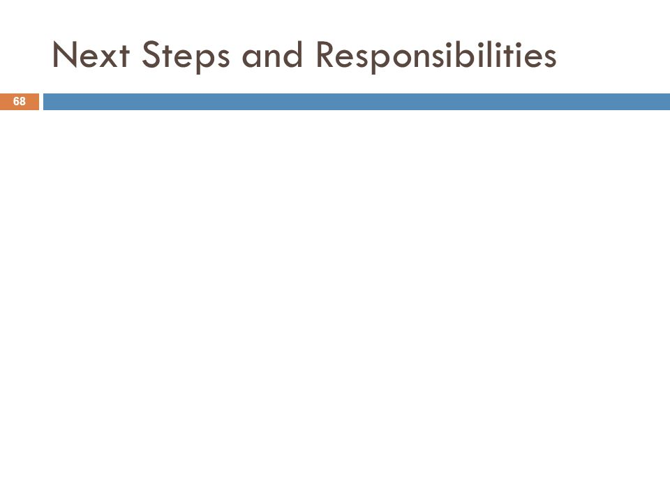 Next Steps and Responsibilities 68