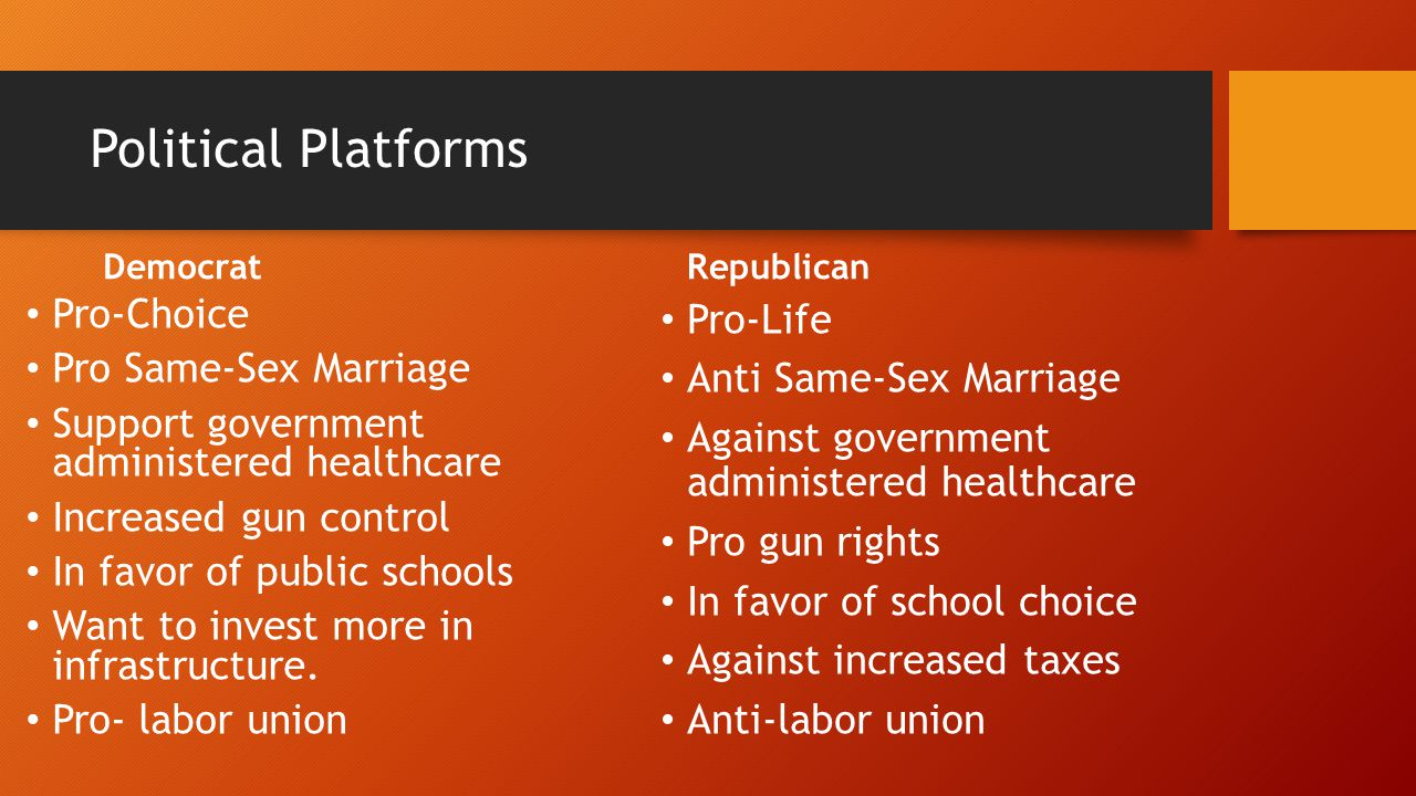 Political Platforms Democrat Pro-Choice Pro Same-Sex Marriage Support government administered healthcare Increased gun control In favor of public schools Want to invest more in infrastructure.