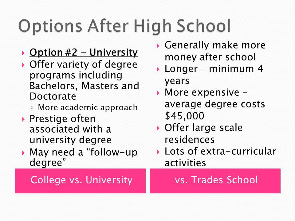 College vs. Universityvs.
